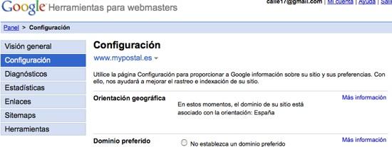 Webmaster Tools dominio .es