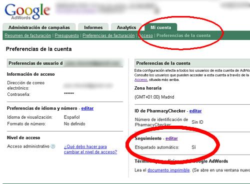Etiquetado automático de urls en Google Adwords